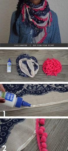 DIY POM POM SCARF  - #art, #diy, craft