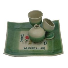 Green Four Piece Ceramic Havdalah Set with Hebrew Text and Seven Species