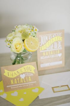 We love the citrus theme at this lemon inspired bridal shower! Click through for more inspiration from this beautiful bridal shower photo shoot.