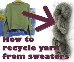 How to recycle yarn from sweaters - lots of beautiful yarn to be had by unraveling sweaters from Goodwill. :)