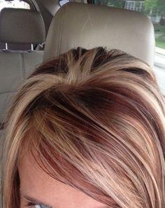 red hair with blonde highlights - Google Search by Bertha C. Prado