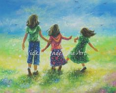 Three Sisters Art Print from Oil Painting by VickieWadeFineArt