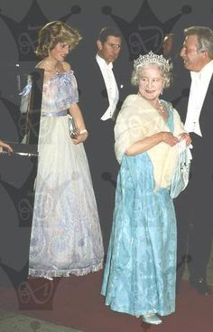 November 19, 1984: Prince Charles and Princess Diana with the Queen Mother attend the Royal Variety Performance at the Victoria Palace Theatre, London.