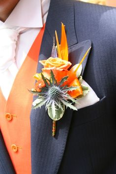 50 Fall Wedding Boutonnieres for Every Groom – Page 10 – Hi Miss Puff Boutonnieres, Orange Boutonniere, Floral Wedding, Wedding Colors, Wedding Bouquets, Wedding Flowers, Wedding Dresses, Wedding Suits, Floral Arrangements