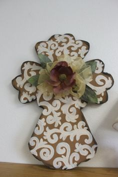 Rustic painted Wooden cross  wall hanging by normanfiveart on Etsy, $30.00