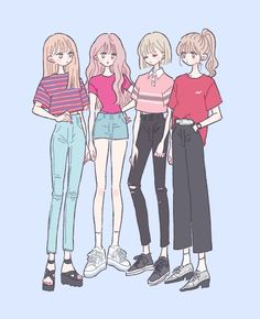 Inspiring Realistic Drawings, Illustrations and Ideas. Awe Inspiring Realistic Drawings, Illustrations and Ideas. Anime Kawaii, Kawaii Art, Aesthetic Anime, Aesthetic Art, Cute Art Styles, Drawing Clothes, Anime Outfits, Anime Art Girl, Anime Style