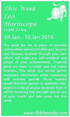 This Week Leo Horoscope (04 January - 10 January 2016)  Askganesha.com