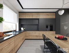 Projekt 27 - Duża zamknięta kuchnia w kształcie litery l w aneksie z oknem, styl nowoczesny - zdjęcie od PASS architekci