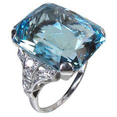 Gorgeous color - Art Deco Aquamarine Diamond Ring - Reville & Rossiter