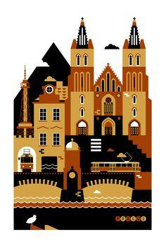 Прага, Иллюстрация © Ксения Быстрова