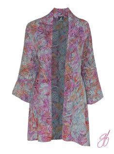 Women's Oversize Kimono Cardigan With Long Sleeve, Plus Size Clothing, Lagenlook Plus Size Batik Kimono Jacket Cardigan, One Size (1x 2x 3x) by GenerousFashions on Etsy. I added a bit of flair to the sleeves and bottom hem. This design detail creates more flow and interest. It is long sleeve and cut on a diagonal. My cardigan can be coordinated with solid tops and bottoms from your own personal wardrobe. Stephen, Your Designer
