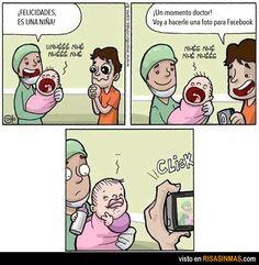 nace, la niña, le toma una foto para Facebook, pone cara de pato, deja de llorar