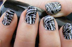 Zebra nails plus glitter <3