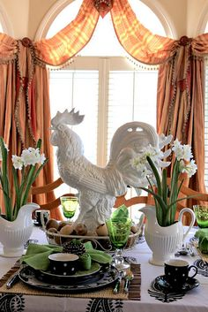 Love The White French Country Rooster And Paper Whites This Is I Am Looking For