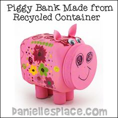 Piggy Bank Made from Recycled Plastic Container Craft for Kids - recycled craft Green Crafts For Kids, Recycled Crafts Kids, Recycled Art Projects, Animal Crafts For Kids, Diy Crafts For Kids, Craft Kids, Recycle Crafts, Plastic Container Crafts, Recycling Containers