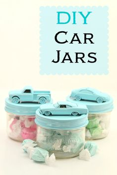 Give your old jars & old car toys a makeover and upcycle them into these cute car jars- make great unisex packaging for wedding favours!