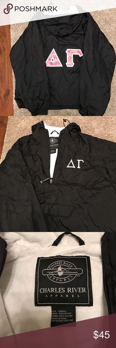 Charles river Delta Gamma (ΔΓ) fleece rain jacket Black, barely worn, Charles River Delta Gamma (ΔΓ) fleece rain jacket with pink Vera Bradley letters on back outlined in white stitching and white letters on front in white stitching. So cute! Best offer! Charles River Jackets & Coats Puffers