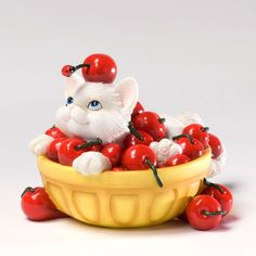 Charming Purrsonalities Lifes A Bowl Full Of Cherries Kitten Figurine (Life's A Bowl Full Of Cherries With You) 4027978+