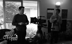 DOP, Shaun Herbertson and Sound Recordist Tim McCormick during set up for our fourth shoot with actor, Ben Steel (Photo: Sally McLean)