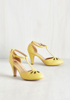 Aisle Come Running Heel in Buttercup, #ModCloth
