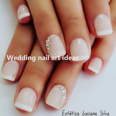 35 Simple Ideas for Wedding Nails Design 2 - Nails Art Ideas Wedding Nails For Bride Natural, Simple Wedding Nails, Wedding Day Nails, Wedding Nails Design, Natural Nail Designs, Gel Nail Designs, Graduation Nails, Nails Design With Rhinestones, Bride Nails