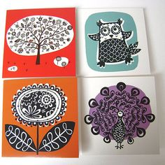 Block colour shapes with design printed over top...