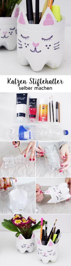 Kreatives Upcycling: DIY Katzen Blumentopf und Stiftehalter aus alten Flaschen upcyceln + Video!
