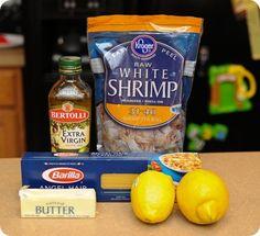 Lemon pasta with roasted shrimp. Very easy!