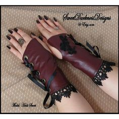 Gothic Wrist Cuffs Gothic Corset Fingerless Gloves Steampunk Wrist... ($110) ❤ liked on Polyvore featuring accessories, gloves, goth gloves, steampunk leather gloves, leather gloves, steam punk gloves and goth fingerless gloves