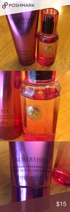 Victoria's Secret Bombshell Body Mist & Lotion Victoria's Secret Bombshell Body Mist & Lotion.  Lotion is full, mist was used a few times. Victoria's Secret Other