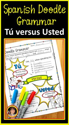 Try these Spanish Doodle Grammar Notes to teach your students the correct usage of Tu and Usted. Using these Doodle activity worksheets will keep your students focused and engaged in class. This unit also includes some fun Doodle Dialogues to allow your students to be creative with the language. This engaging Doodle technique will pique student interest and increase retention!