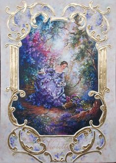 original painting Sweet Violet  with ornament
