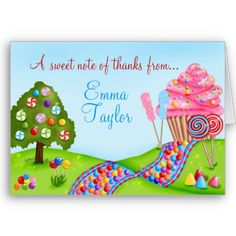 candy land thank you cards