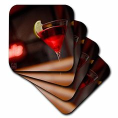 3dRose cst_107595_2 Red Cocktail with Lemon in BarSoft Coasters Set of 8 >>> For more information, visit image link. (This is an affiliate link)