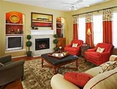 Red family room ideas and many more