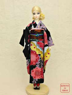 Japanese KIMONO dress,Barbie,Poppy Parker,FR NIPPON Black furisode,obi,wafuk #KIMONOnoMIRAI