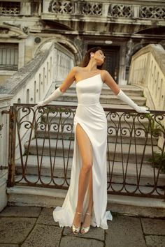 Satin wedding dress JINA with a small train and open shoulder Satin Dresses, Ball Dresses, Strapless Dress Formal, White Party Dresses, White Satin Dress, Corset Dresses, White Gowns, Satin Gown, Formal Party Dresses