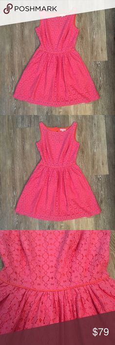 "Lilly Pulitzer Aleesa Lace Pink Dress Great condition Lilly Pulitzer Aleesa Lace Pink Dress. Sleeveless boatneck dress with full skirt and cutout detail on back. Two front slit pockets, concealed zipper with hook & eye closure. Contrasted with coral piping and lined in coral. 18"" from natural waist to hem. Dry clean only. 14.5"" wide from pit to pit. 29"" long. 70% cotton, 30% nylon. No trades, offers welcome. Lilly Pulitzer Dresses"