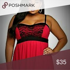 Torrid brand red spaghetti strap top This Torrid plus size top has black lace on the bodice,adjustable straps. Brand new and never worn.PRICE IS FIRM. torrid Tops Tank Tops