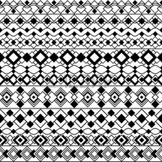 Seamless pattern of geometric Art Deco inspired borders in black and white…