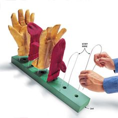 Mitten and Shoe Dryer - Drill pairs of 1/8-in. holes in a scrap of 2x4 and insert U-shaped pieces of galvanized 14-gauge wire. If you have forced-air heat, drill 1-in. holes between the pairs of 1/8-in. holes using a spade bit, and set the rack on a register for fast drying.
