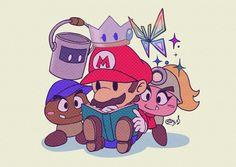 Paper Mario 64, Nintendo Super Smash Bros, Super Mario Art, Super Mario Brothers, Mario And Luigi, Cute Drawings, Kawaii Anime, Cute Art, Character Design