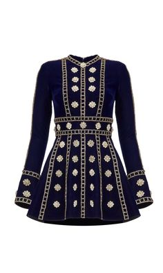 Floral embroidered velvet mini dress from our Autumn/Winter collection known as Disco Knights. Long-sleeved dark navy velvet mini dress with silver floral embroidered and chain strass embellished integrated belt. Kpop Fashion Outfits, Stage Outfits, Fashion Dresses, Korean Fashion, High Fashion, Kpop Mode, Casual Dresses, Short Dresses, Hijab Stile