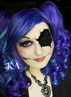 close up on cracked doll makeup #halloween #makeup ...