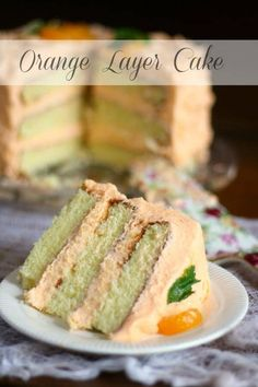 This homemade orange layer cake is three layers high and made with fresh oranges. It's so good! From http://RestlessChipotle.com