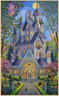Enter a magical land with the Springtime Splendor wallpaper mural by Randal Spangler. An ornate and colorful castle takes up the majority of this enchanted scene. Free US Shipping! Fantasy Landscape, Fantasy Art, Graffiti Kunst, Art Fantaisiste, Murals Your Way, Randal, Cottage Art, Earth Design, Whimsical Art