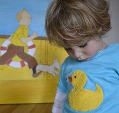 T-Shirts - Kinder T-Shirt mit Ente, Entchen, türkis - ein Designerstück von tibatong-shop bei DaWanda