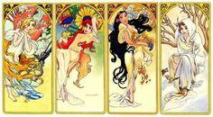 Disney and Mucha - 4 Seasons by Larocka84 Deviantart