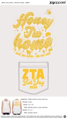 Zeta Tau Alpha Bid Day Shirt | Sorority Bid Day Shirt | Greek Bid Day Shirt #zetataualpha #zeta #zta #Bid #Day #Shirt #honey #im #home Sorority Bid Day, Sorority And Fraternity, Bid Day Shirts, Bid Day Themes, Zeta Tau Alpha, Custom Design Shirts, Comfort Colors, Screen Printing, Greek