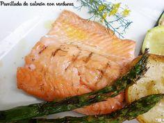Dieta. Comida Parrillada de salmón con verduras